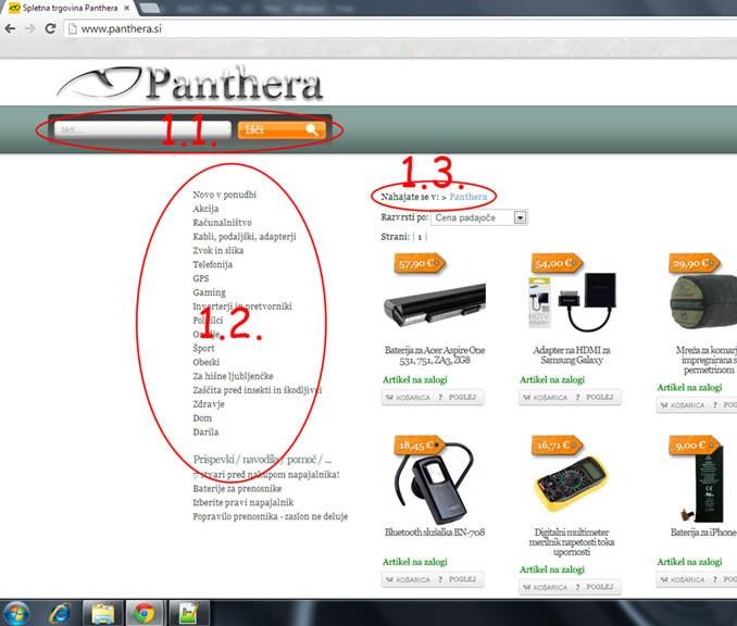 Načini navigacije spletne strani Panthera